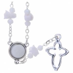 Collana rosario Medjugorje bianca con rose e grani cristallo s2