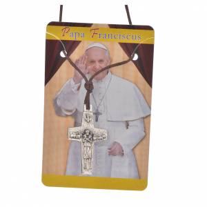 Collar 2,8x1,8 cm Cruz del Papa Francisco con cuerda s3