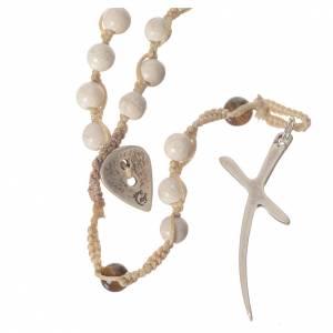 Rosarios piedra dura: Collar rosario de piedra fósil 6 mm