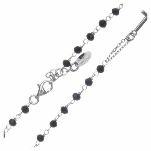 Collier chapelet tour du cou AMEN cristaux noirs arg 925 rhodié s3