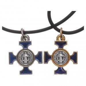 Pendentifs croix métal: Collier croix celtique St Benoit bleue 2x2