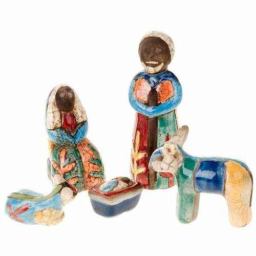 Coloured Raku nativity scene 1