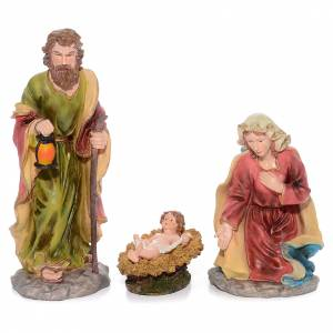 Resin and Fabric nativity scene sets: Complete nativity set in resin measuring 55cm, 11 characters.