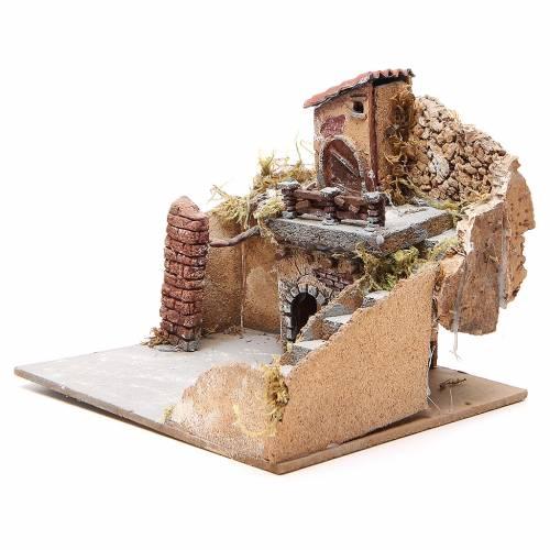 Composition maisons liège bois crèche Naples 20x23x20 cm s2