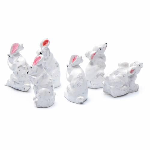 Conigli 6 pz resina presepe h reale 2 cm s2
