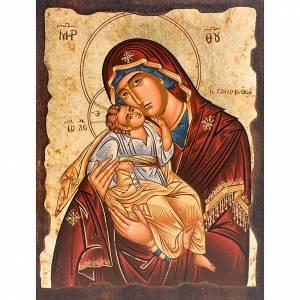 Íconos Pintados Grecia: Ícono Madre de Dios de la ternura manto rojo