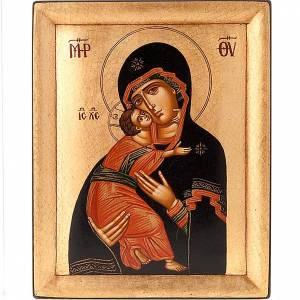 Íconos Pintados Grecia: Ícono Madre de Dios de Vladimir fondo oro