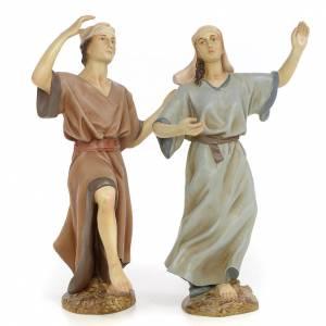 Coppia danzatori 30 cm pasta di legno dec. anticata s1