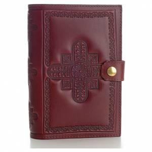 Custodie lit. ore 4 vol.: Copri liturgia 4 vol. vera pelle bordeaux croci decorate