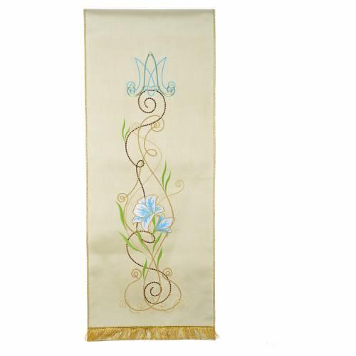 Coprileggio mariano shantung decorato lettere MA e fiori s1