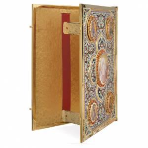 Coprilezionario ottone dorato con smalti Gesù Evangelisti s3