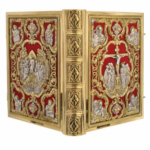 Coprilezionario ottone dorato Gesù Crocifisso s4