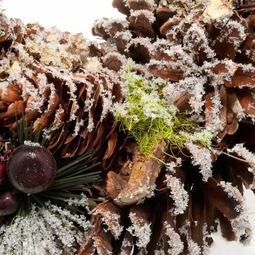 Corona natalizia pigne e neve addobbo natalizio s2