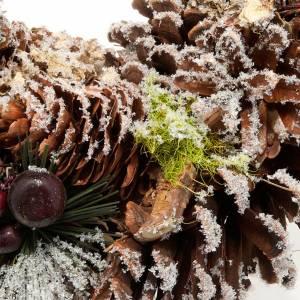 Corona navideña piñas y nieve adorno de navidad s2