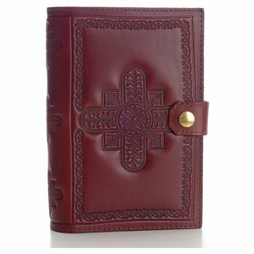 Couverture liturgie 4 vol. cuir véritable bordeaux croix décorées s1
