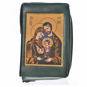 Catholic Bible covers: Cover Catholic Bible Anglicized green bonded leather with Holy Family image