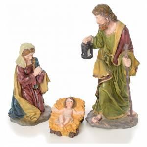 Crèches résine et tissu: Crèche complète 10 santons résine 50cm modèle adoration
