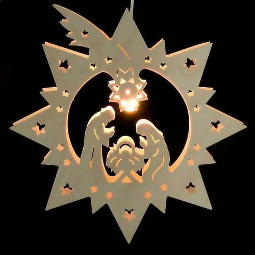 Crèche illuminée en bois, étoile s2