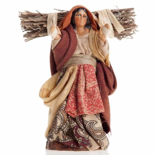 Crèche Napolitaine 8 cm femme avec fagot de bois s1
