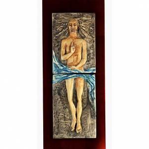 Via Crucis: Cristo Risorto 15° stazione maiolica pastello su legno ciliegio
