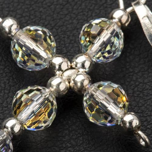 Croce argento e perle Swarovski sfaccettate s3