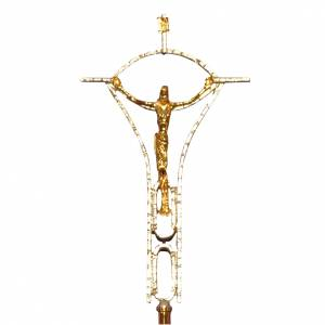 Croci astili e basi portacroce: Croce astile ottone fuso bicolore 50x30 cm