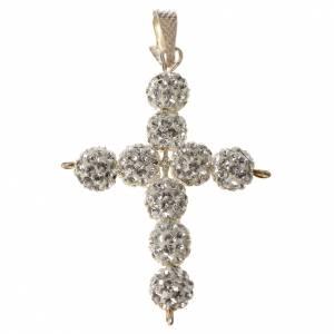 Pendenti, croci, spille, catenelle: Croce con perle Swarovski bianco 3x3,5 cm