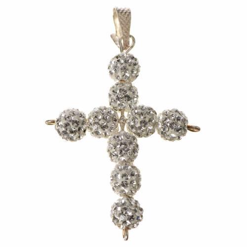 Croce con perle Swarovski bianco 3x3,5 cm s1