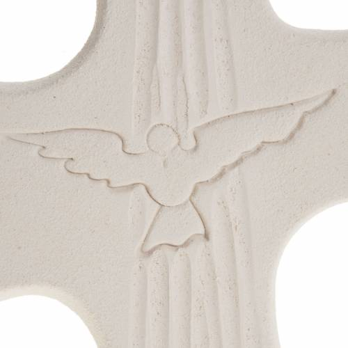 Croce Cresima Spirito Santo argilla bianco oro 15 cm s3