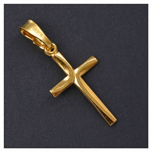 Croce dorata Arg. 800 con incrocio 2,5 x 1,5 s2