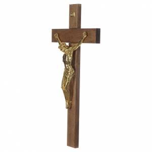 Croce noce scuro Cristo resina oro 65 cm s3