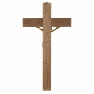 Croce noce scuro Cristo resina oro 65 cm s4