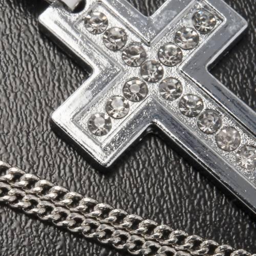 Croce pendente metallo classica strass e catenella s4