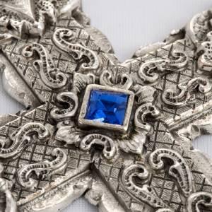 Croce pettorale stile barocco rame argentato cesellato pietre s4