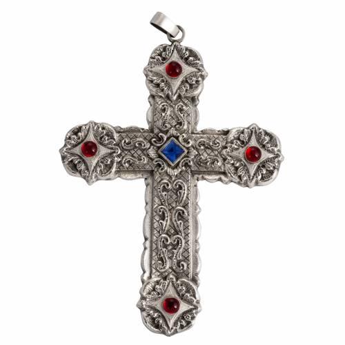 Croce pettorale stile barocco rame argentato cesellato pietre s1