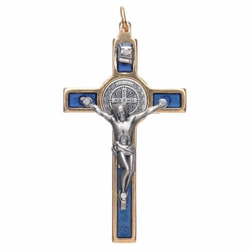 Collana Croce san Benedetto blu elegante s1