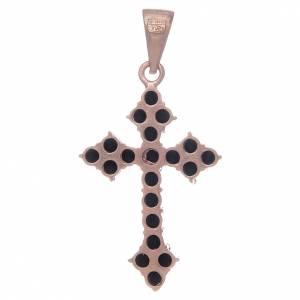 Croce trilobata rosata in argento 925 con zirconi neri s2