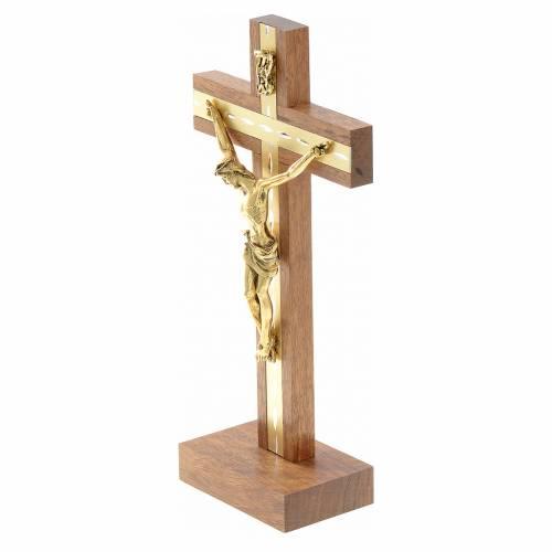Crocefisso legno e metallo dorato da tavolo s2