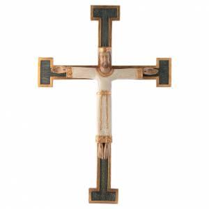 Crocifissi in pietra: Crocefisso Sacerdote Re bianco croce verde