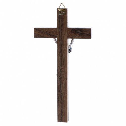 Crocifisso corpo argentato su croce in legno di noce moderno 16 cm s3