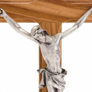 Crocifisso da tavolo dorato legno olivo e metallo argentato s3