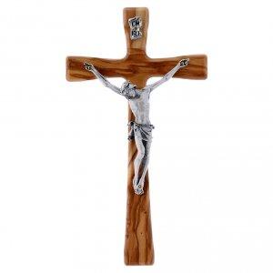 Crocifisso in legno di olivo moderno 20 cm s1