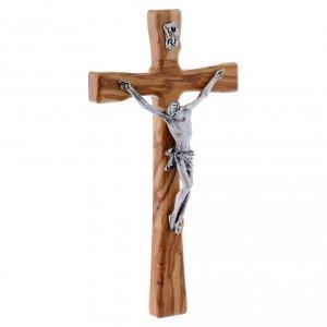 Crocifisso in legno di olivo moderno 20 cm s5