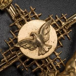 Crocifisso metallo dorato Cristo Padre Spirito Santo s5
