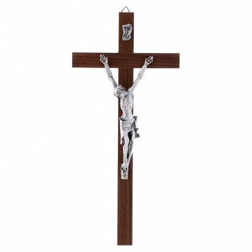 Crocifisso moderno in legno di noce e corpo in argento 25 cm s1