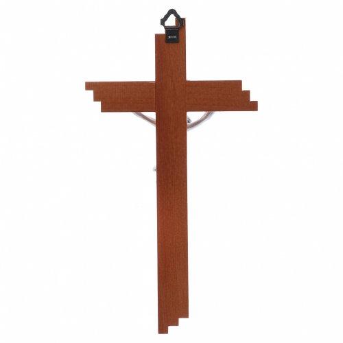Crocifisso moderno in legno di pero 21 cm corpo metallico s3