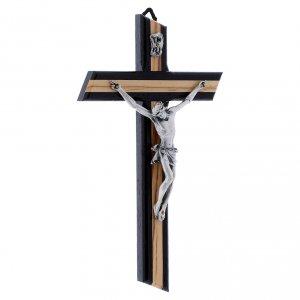 Crocifisso wengé in legno di olivo moderno con corpo metallico 21 cm s2