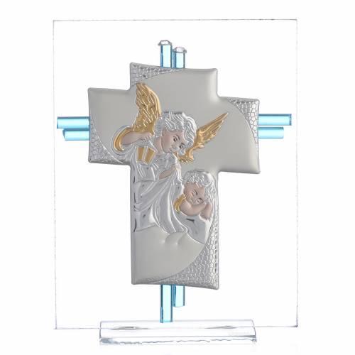 Croix anges verre Murano aigue-marine et argent h 14,5 cm s1