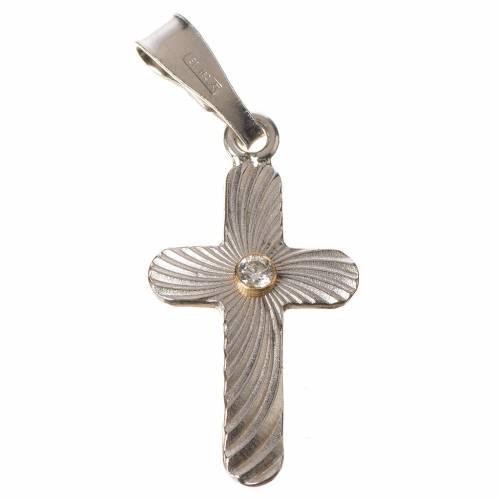 Croix argent et zircon crénelée 2x1,5 s1