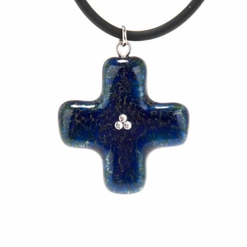 Croix bleue avec 3 Swarovski 1